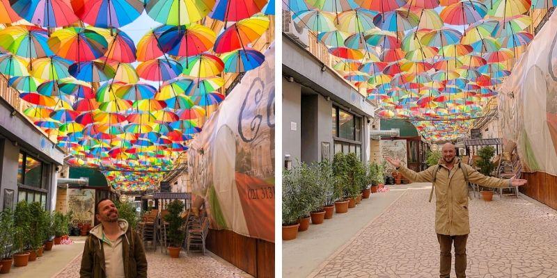 Bunte Regenschirme Bukarest