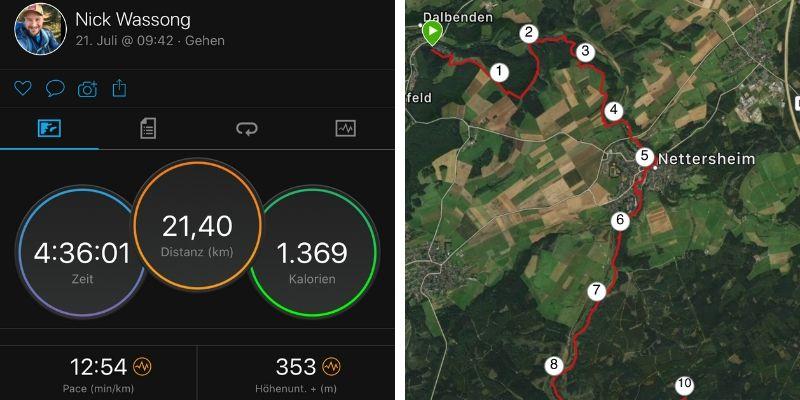 Wanderung auf dem Eifelsteig (Screenshot aus der Garmin Connect IQ App)