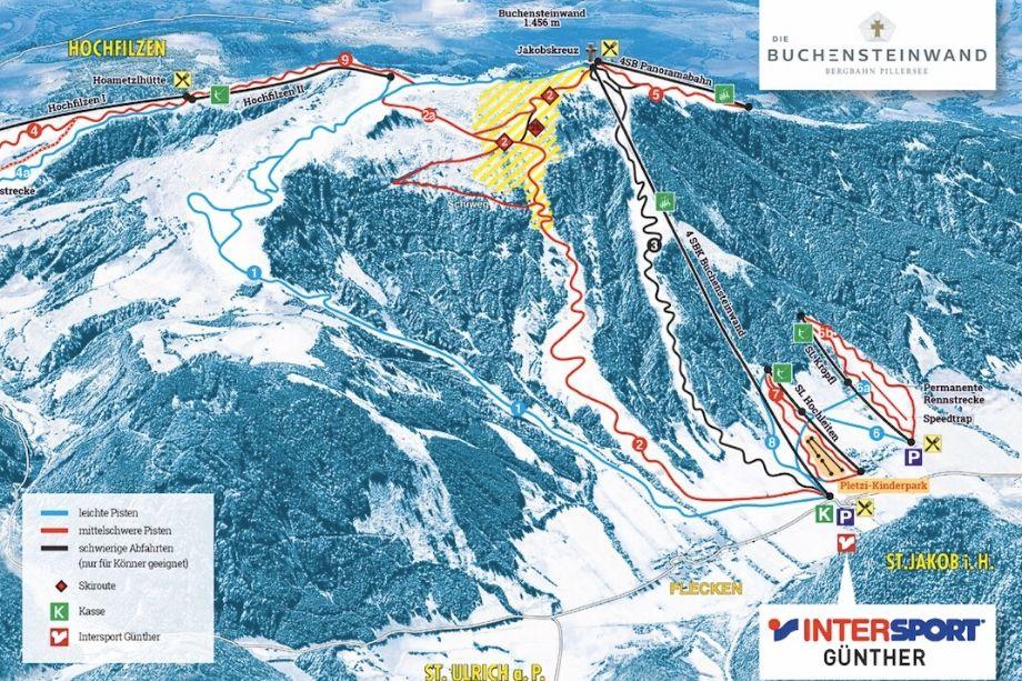 Pistenplan der Buchensteinwand